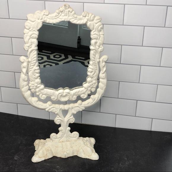 Vintage iron creamy white painted stand mirror